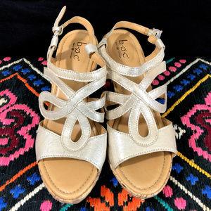 BOC Espadrille Gold & Cork Wedge Sandals 8M